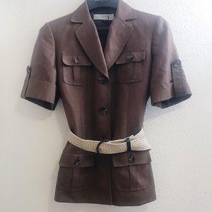 Tahari ASL short sleeve brown blazer jacket belt 4
